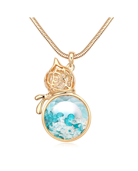 Colier cu cristale Bloom Amiral bleo aquamarine placat cu aur 18k si garantie 6 luni