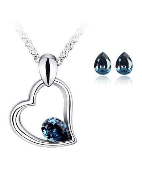 Set EXPENSIVE HEART blueink cu cristale swarovski
