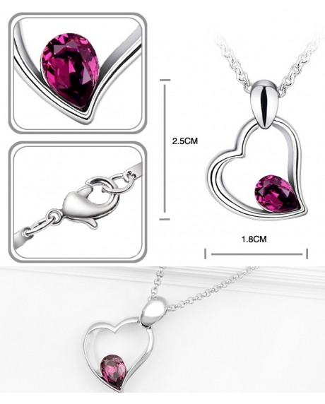 Set EXPENSIVE HEART purple cu cristale swarovski