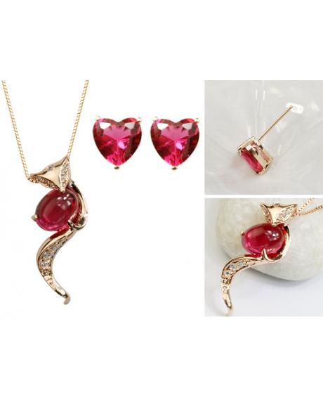 Set bijuterii Fox in Love din 4 piese cu cristale rose inchis, placat cu aur 18K si garantie 6 luni + CADOU surpriza! 0