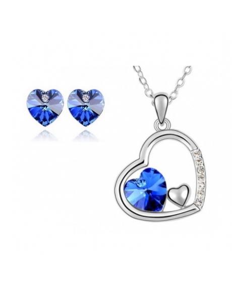 Set  bijuterii FANTASY HEART blue capri  cu cristale swarovski