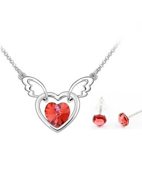 Set Heart red cu cristale Swarovski placat cu aur
