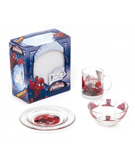 Set mic dejun Spiderman (breakfast ceramic set) din portelan din 3 piese: farfurie, bol si cana