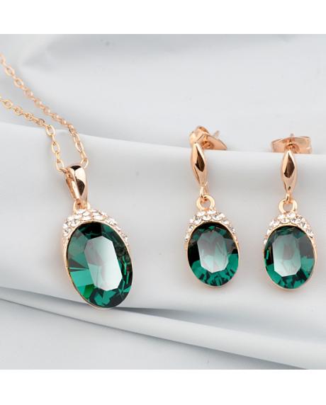 Set bijuterii Regal Green cu cristale, placata cu aur 18K si garantie 6 luni in cutie de bijuterii din piele ecologica