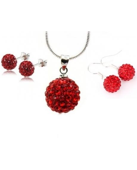 Set bijuteriii SHAMBALA rose cu 2 perechi de cercei cu cristale
