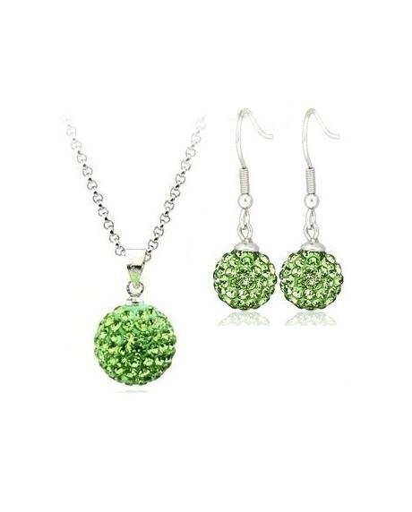 Set bijuteriii SHAMBALA lung green-verde cu cristale