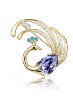 Brosa Swan GOLD violet cu elemente Swarovski si placata cu aur 18K garantie 6 luni