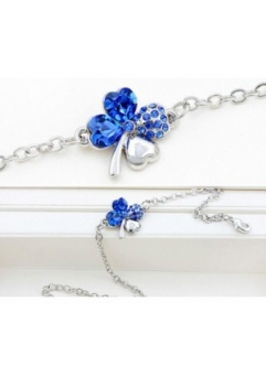 Bratara SWEET 4 LEAF blue cu cristale Swarovski