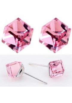 Cercei WATER CUBE rose cu cristale Swarovski