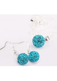 Set bijuteriii SHAMBALA lung bleo topaz-turquoise cu cristale swarovski