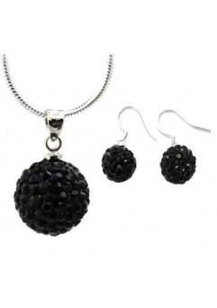 Set bijuteriii SHAMBALA lung negru  cu cristale swarovski