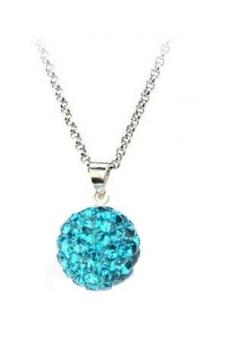 Pandant SHAMBALA BLUE TOPAZ turquoise cu lantic placat cu argint cu cristale swarovski