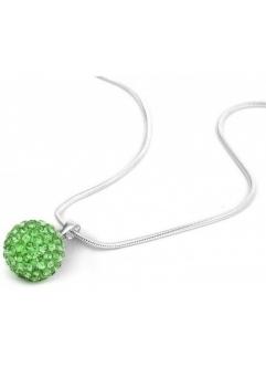 Pandant SHAMBALA VERDE green cu lantic placat cu argint cu cristale swarovski