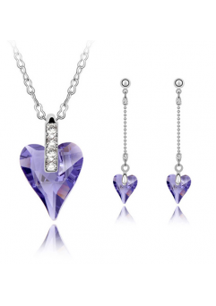 Set ANGELIC HEART violet, format din 3 piese placate cu aur alb 18k