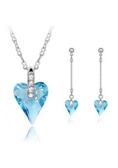 Set ANGELIC HEART bleo-aquamarine,format din 3 piese placate cu aur alb 18k