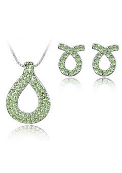 Set de bijuterii cu cristale placate cu aur alb LOVE KNOT green-verde