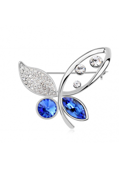 Brosa 1035 Elegant Butterfly blue capri cu cristale Swarovski si placata cu aur 18K  garantie 6 luni
