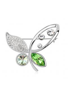 Brosa 1035 Elegant Butterfly green cu cristale Swarovski si placata cu aur 18K  garantie 6 luni