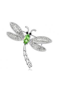 Brosa Libelula GREEN cu cristale Swarovski si placata cu aur 18K  garantie 6 luni