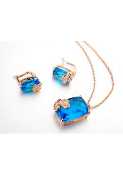 Set de bijuterii cu cristale Regal Butterfly blue din 3 piese, placat cu aur 18k si garantie 6 luni