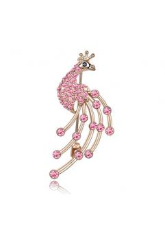 Brosa 2014 paun pink cu elemente Swarovski si placata cu aur 18K garantie 6 luni