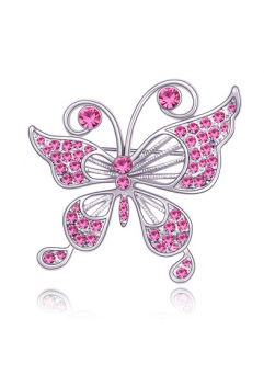 Brosa 2015 Fluture rose cu elemente Swarovski si placata cu aur 18K garantie 6 luni