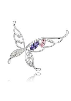 Brosa Butterfly x violet - rose cu elemente Swarovski si placata cu aur 18K garantie 6 luni