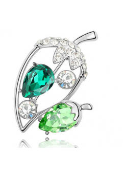 Brose Ghinda verde cu elemente Swarovski si placata cu aur 18K garantie 6 luni