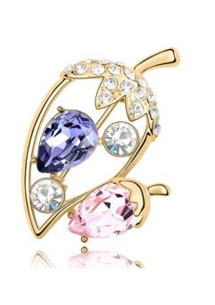 Brose Ghinda GOLD violet-rose cu elemente Swarovski si placata cu aur 18K garantie 6 luni