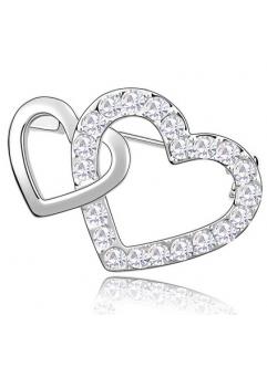 Brosa Double Heart white cu elemente Swarovski si placata cu aur 18K garantie 6 luni