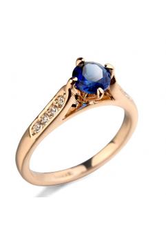 Inel cu cristale Regal blue placat cu aur 18k si garantie 6 luni - diametru 16cm