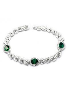 Bratara Amelia cu cristale Green  Emerald placat cu aur 18K si garantie 6 luni