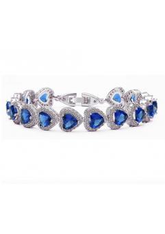Bratara Expensive Heart cu cristale Blue capri  placat cu aur 18K si garantie 6 luni