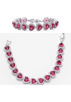 Bratara Expensive Heart Dark Rose placat cu aur 18K si garantie 6 luni