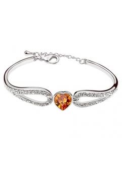 Bratara Regal Heart cu cristale orange, placata cu aur 18K si garantie 6 luni