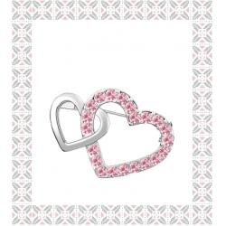 Brosa Double Heart  rose cu elemente Swarovski si placata cu aur 18K garantie 6 luni