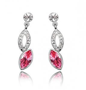 Cercei Beautifull Bride cu cristale rose, placati cu aur 18k, garantie produs 6 luni de zile