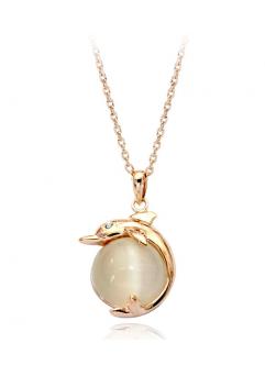 Colier cu cristale Gold Real Pearl  placat cu aur 18k si garantie 6 luni