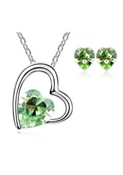 Set bijuterii Sweet Leaf cu cristale Green peridot, placat cu aur 18K si garantie 6 luni