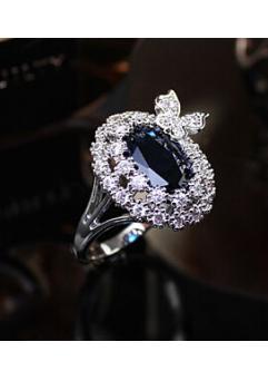 Inel Blue Butterfly diametru 16 cm cu cristale Swarovski placat cu aur 18k