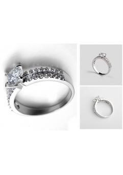 Inel Regal White diametru 17cm cu cristale Swarovski placat cu aur 18k