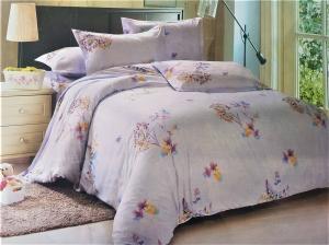 LENJERIE DE PAT 6 PIESE 2 persoane pat matrimonial din BUMBAC 3D cu motive florale, model 1024- Sendia