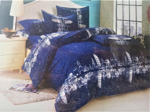 LENJERIE DE PAT 6 PIESE 2 persoane pat matrimonial din BUMBAC 3D, model 1026- Sendia