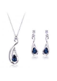 Set de bijuterii Arina Drop blueink cu cristale, placat cu aur 18K si garantie 6 luni