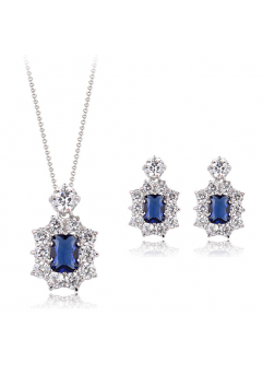 Set bijuterii din 3 piese Regal Blue cu cristale, placata cu aur 18K si garantie 6 luni in cutie de bijuterii din piele ecologica