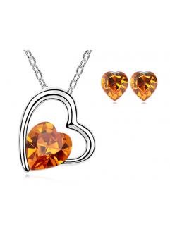 Set bijuterii IN LOVE orange-portocaliu cu elemente Swarovski placat cu aur