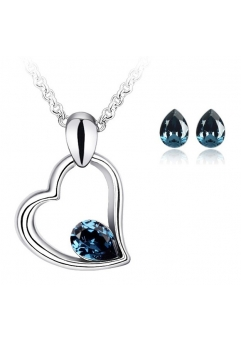 Set EXPENSIVE HEART blueink cu cristale swarovski