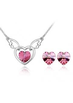 Set FANTASY HEART rose deschis cu cristale swarovski