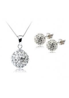 Set bijuteriii SHAMBALA alb cu cristale swarovski
