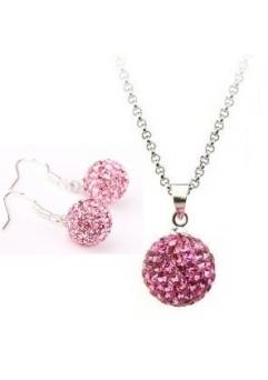 Set bijuteriii SHAMBALA lung  rose cu cristale swarovski
